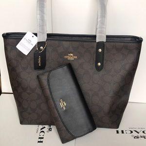 💕🎀coach Tote Set 💕shoulder bag brown/black